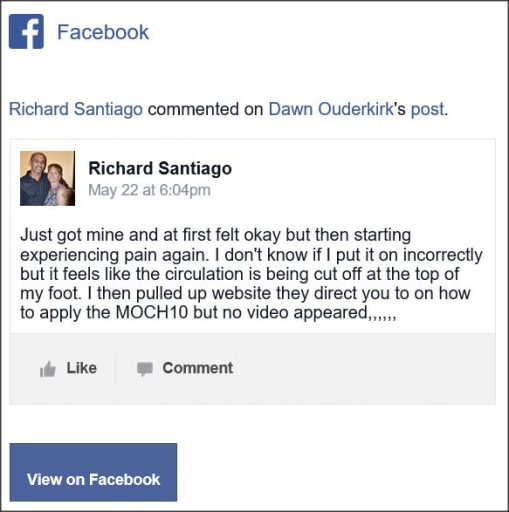 Richard Santiago, Facebook comment