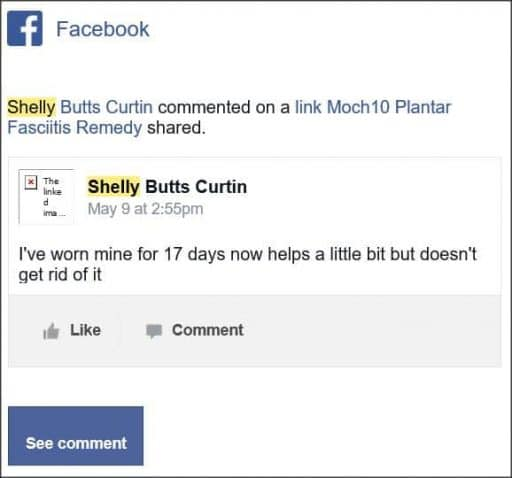 Shelly colillas Curtin, Facebook comentario.