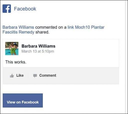 Barbara Williams, Facebook comment
