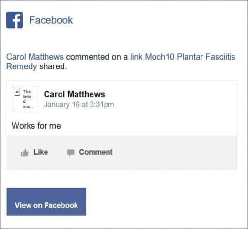 Carol Matthews, Facebook comentario