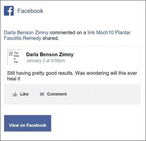 Darla Benson Zimny, Facebook comment
