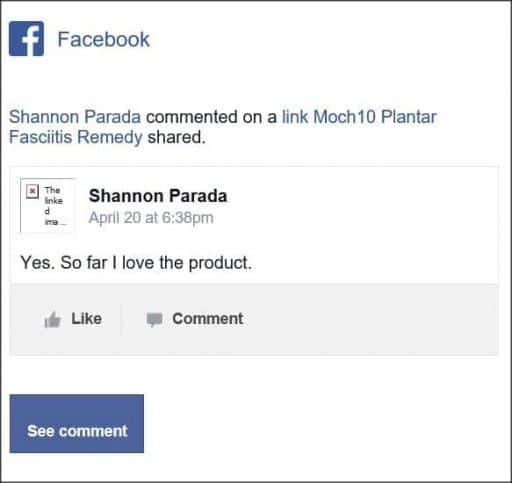 Shannon Prada, Facebook comment