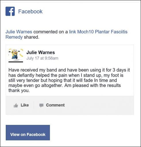 Julie Warnes, Facebook comentario